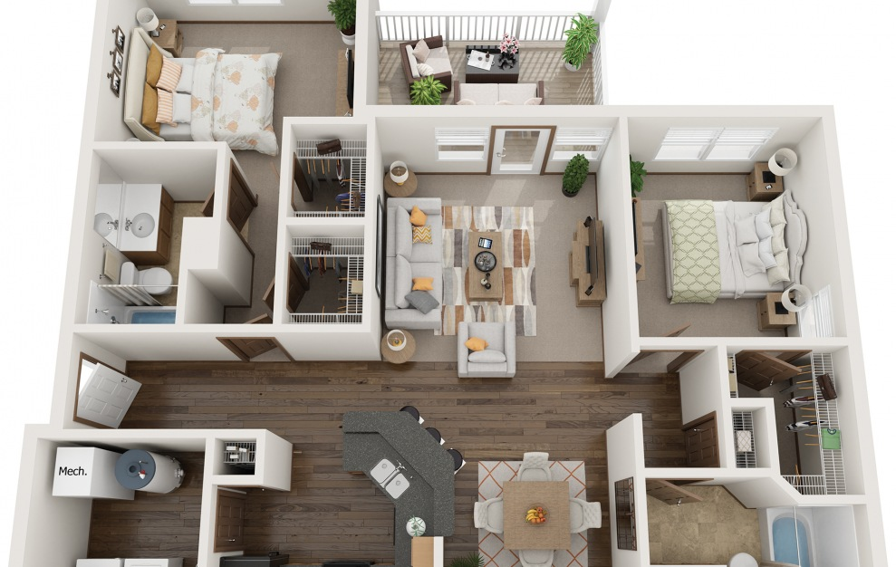 The Heritage - Fully Furnished - 2 bedroom floorplan layout with 2 baths and 1200 square feet.