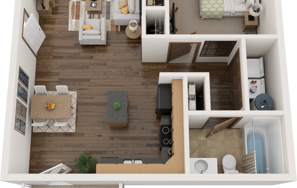 The Nest - Fully Furnished - 1 bedroom floorplan layout with 1 bath and 747 square feet.