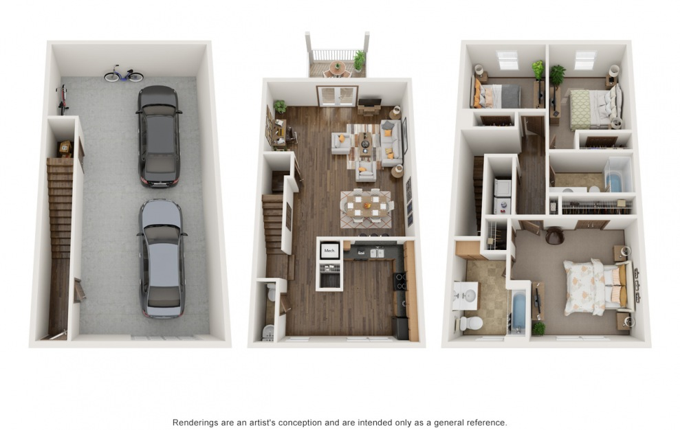 The Molly - Fully Furnished - 3 bedroom floorplan layout with 2.5 baths and 1554 square feet.
