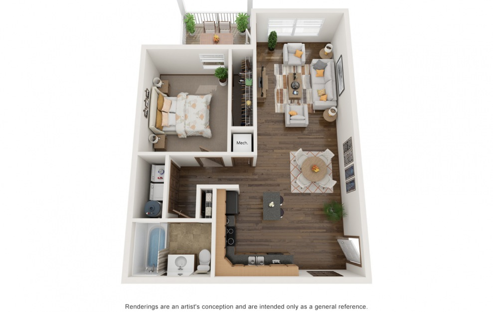 The Jaxson - Fully Furnished - 1 bedroom floorplan layout with 1 bath and 845 square feet. (3D)
