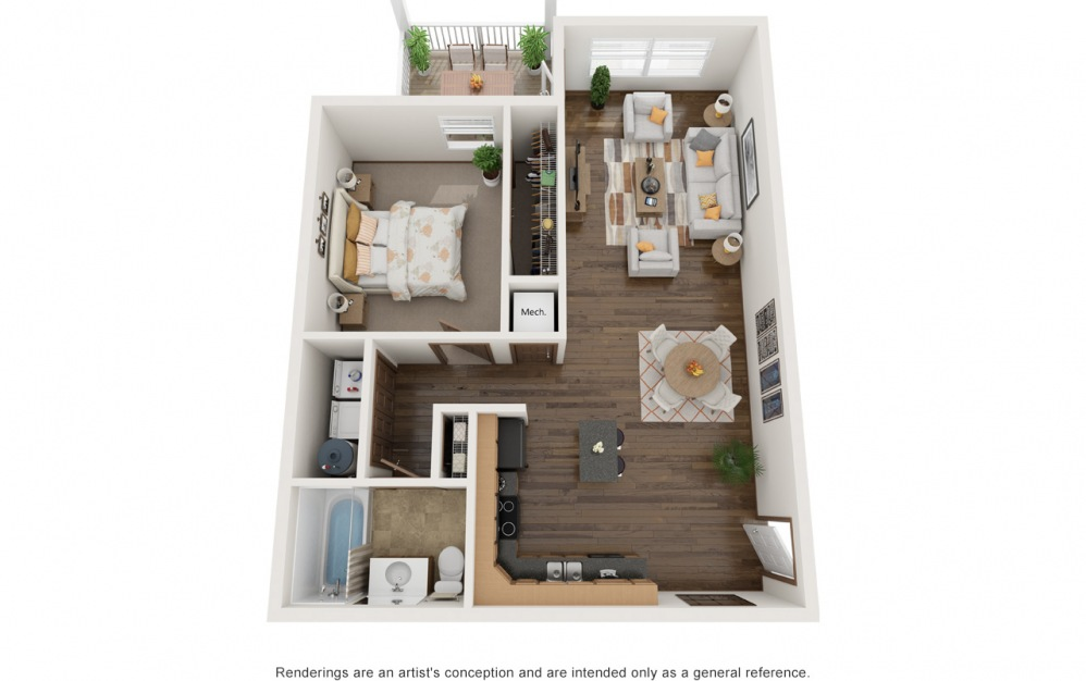 The Jaxson - Fully Furnished - 1 bedroom floorplan layout with 1 bath and 845 square feet. (2D)