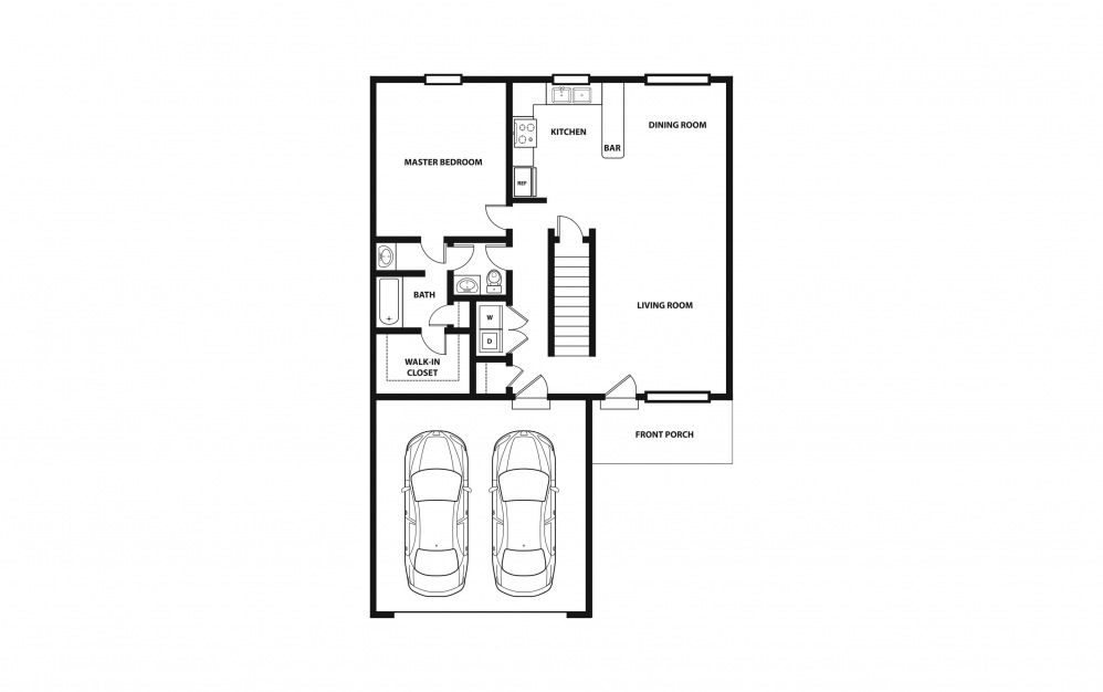 The Bridgeport - Purchase - 3 bedroom floorplan layout with 2 baths and 1836 square feet. (Floor 1)