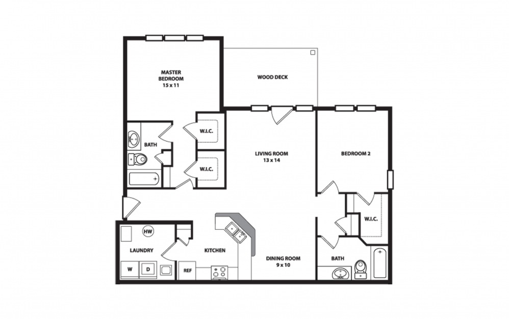 The Heritage - 2 bedroom floorplan layout with 2 baths and 1200 square feet.